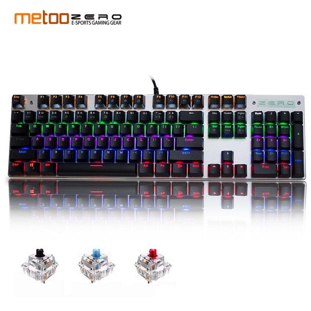 Metoo Clavier Mécanique de jeu 87/104 clés usb clavier Filaire bleu/rouge/noir commutateur Clavier Rétroéclairé Anglais/Russe /espagnol