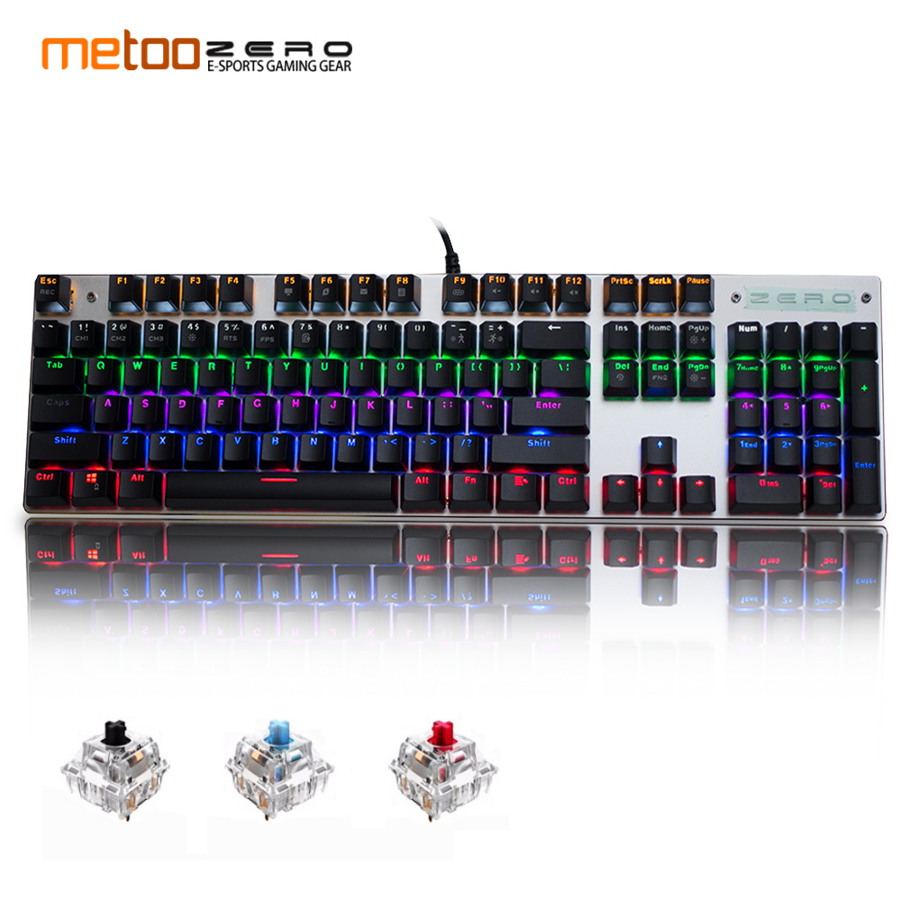 Metoo gaming Mechanical Keyboard 87/104 keys usb Wired keyboard blue/red/black switch Backlit Keyboard English/Russian/Spanish professional mini bluetooth wireless backlit gaming mechanical keyboard blue black red brown switch wired game keyboard for pc