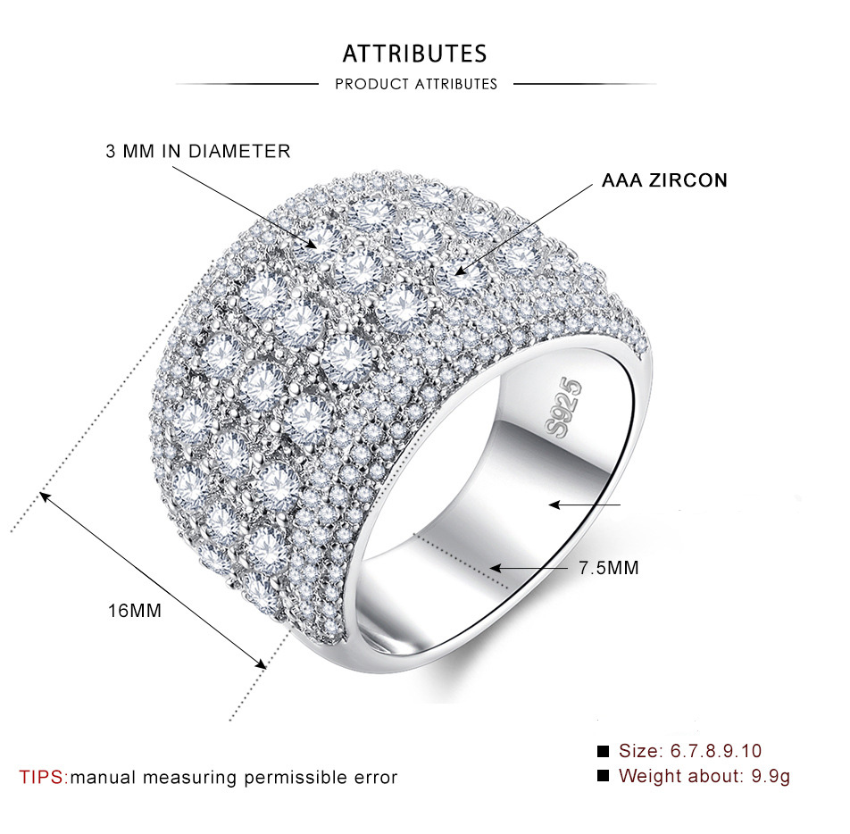 9 7 6 8 Women/'s Cubic Zirconia wide Sterling Silver CZ Wedding Band Size 5