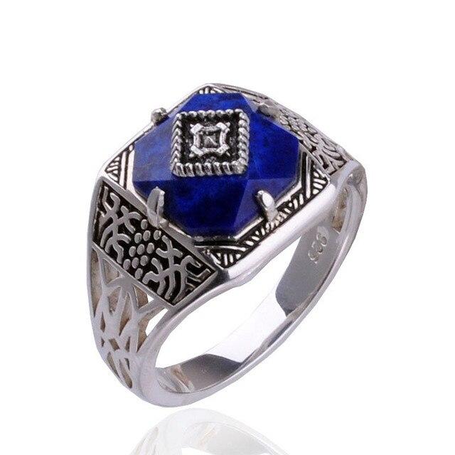 ไดอารี่แวมไพร์แคโรไลน์แหวนS925แหวนเงินสเตอร์ลิงบริสุทธิ์Sliver Carolineแหวนผู้หญิงเครื่องประดับLapis Lazuliหิน
