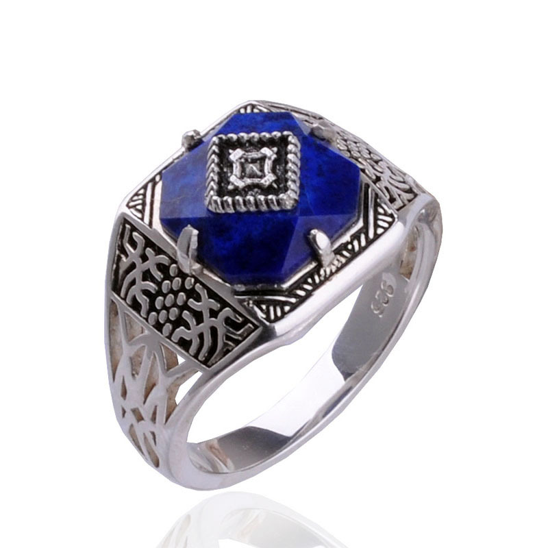 The Vampire Diaries Caroline bague S925 bague en argent pur Caroline bague bijoux femme pierre Lapis Lazuli