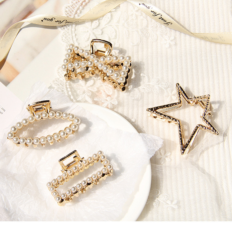 New Fashion Pear Geometric Hair Claws Trendy Metal Care Styling Tool Star Oval Accessories