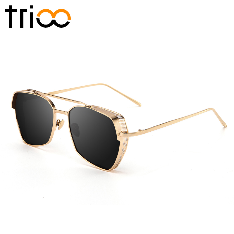 5eebe3c372 TRIOO Cool Steampunk Metal Sunglasses Men Luxury Black Lunettes UV400  Protection Sun Glasses For Men Gold Thick Frame Shades-in Sunglasses from  Apparel ...