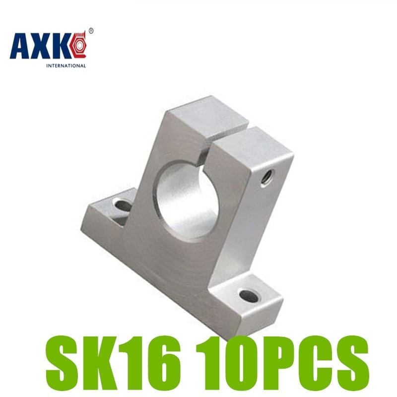 AXK 10pcs/lot SK16 SH16A 16mm Linear Rail Shaft Support XYZ Table CNC parts SK16 sk16 sh16a 16mm linear rail shaft support xyz table cnc 2pcs lot