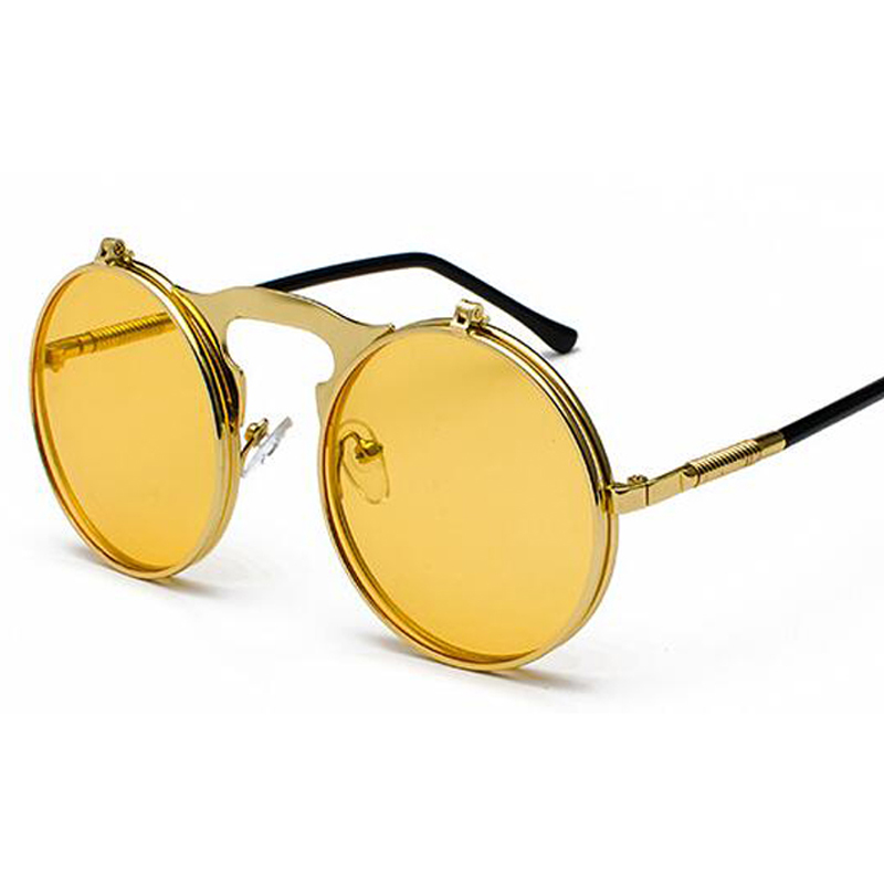 a020becc25b0 ... Fashion Steampunk Glasses Goggles Round Flip Up Vintage Steampunk Sunglasses  Round Sunglasses Women Brand Designer steam ...