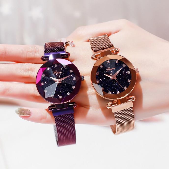 Relogio Feminino Women Bracelet Watch 2018 Luxury Starry Sky Magnetic Wrist Watch Rhinestone Mesh Wristwatch zegarek damski XFCS