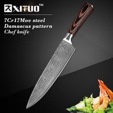 """Высокое качество 8 """"дюймовый утилита шеф-повар ножи имитация дамаск сталь santoku кухонные ножи sharp тесак нарезки ножи нож подарка"""