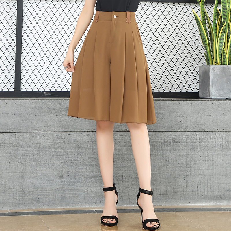 Knee Length Pleated Chiffon Shorts Shirts High Waist Female Summer Shorts Skirts Wide Leg Loose Casual Culottes Office Elegant