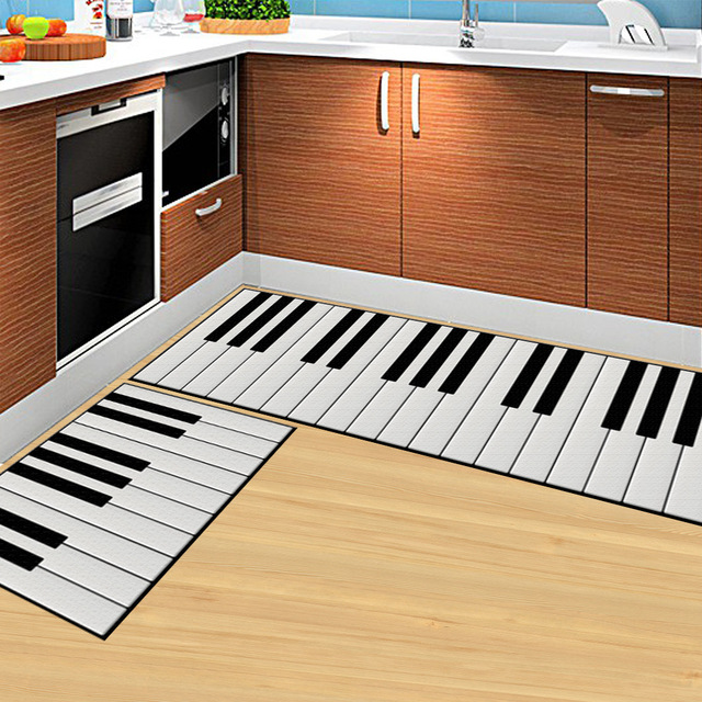 50cm*80cm white colour piano key runner rug polyester fabric