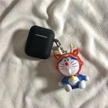 Cute Cartoon Doraemon Keychain Silicone Case Earphones For Apple Airpods i12 TWS Bluetooth Headphone Protective Skin Cover