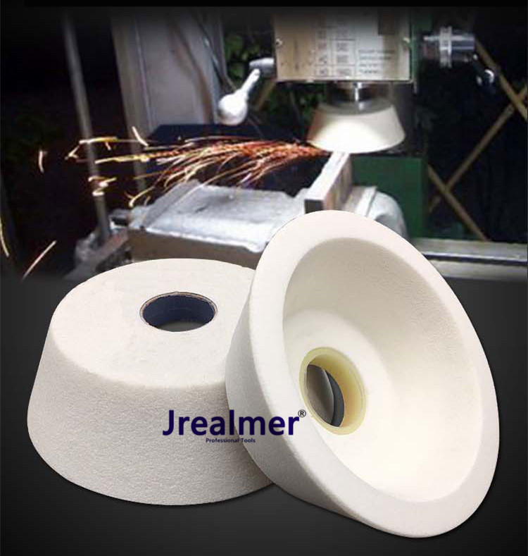 Jrealmer 1pcs Cup-shaped Dia70/100/125mm White Corundum Grinding Wheel High Quality White Corundum
