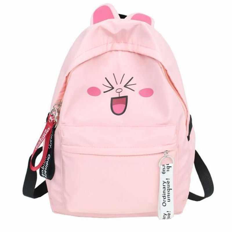 Женский милый рюкзак с ушками, рюкзаки с персонажами мультфильмов для девочек-подростков, школьная сумка с забавным принтом, рюкзак mochilas feminina