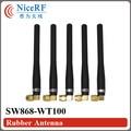 10 unids/lote SW868-WT100 868 MHz Ganancia 3.0 dBi Antena con SMA Macho cabeza De Goma para el módulo inalámbrico