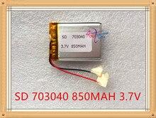 Bateria de Polímero Liter Energy Battery 3.7 V de Lítio 073040 703040 850 Mah Gps Navigator Mp3 Gravador Som