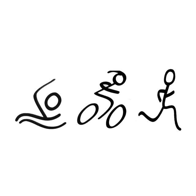 18*6.7CM Fashion Simple Triathlon Sticker Swim Bike Run