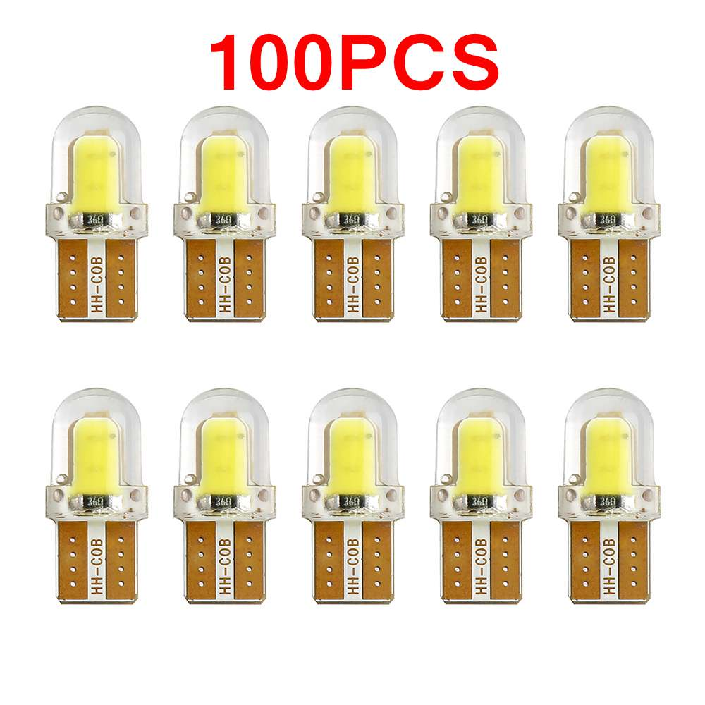 100PCS T10 LED Lamp Bulbs Clearance Lights Interior Lighting T10 194 168 W5W COB CANBUS Silica