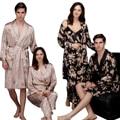 Casais Sleepwear faux Pijamas De Seda De Cetim Kimono Robe Bath Vestido Dragão Phoenix Patteren Amantes Roupão de Banho Vestido de Noite