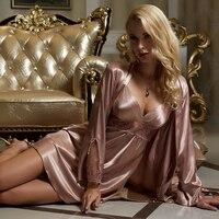 Free Shipping Female Sexy Sleepwear Satin Silk 2 Pieces Sleep Skirts Cute Night Skirt 8207