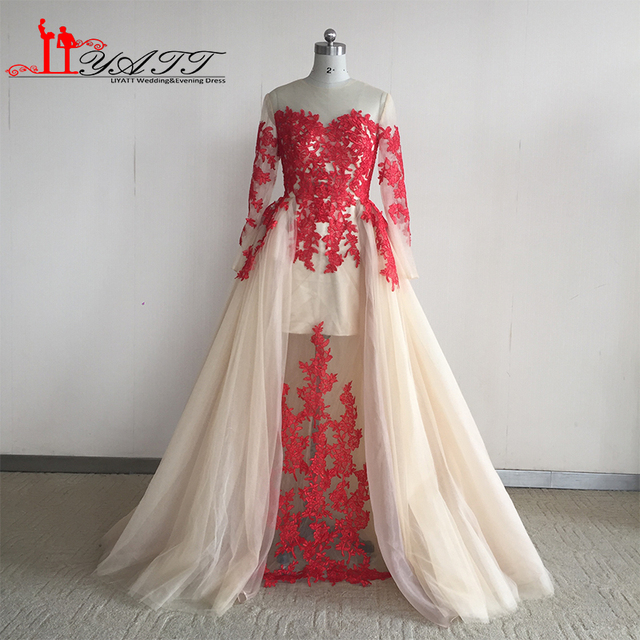 0c4a495f6f US $155.0 |Real Photo Vestido de fiesta 2019 Red Lace Appliques Champagne  Long Sleeves Tulle Arabian indian saree Evening Prom Dresses-in Evening ...