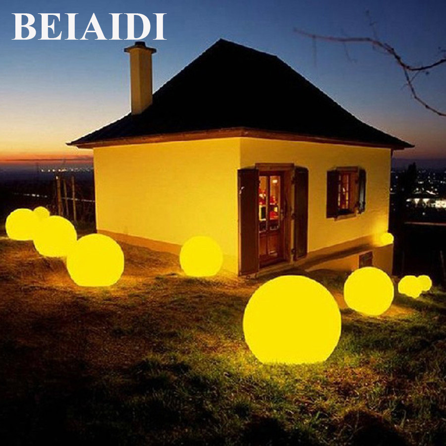 BEIAIDI 7 Color RGB Solar Powered Ball Garden Light With Remote Outdoor Post LED Lawn Lamp Solar Villa Landscape Patio Lamp все цены