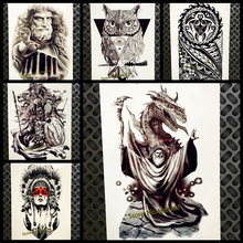 Gandalf Designs Fake Waterproof Temporary Tattoo For Men Women Body Art Arm Legs Tattoo Sticker 21x15CM Dragon Flash Tatoo Black