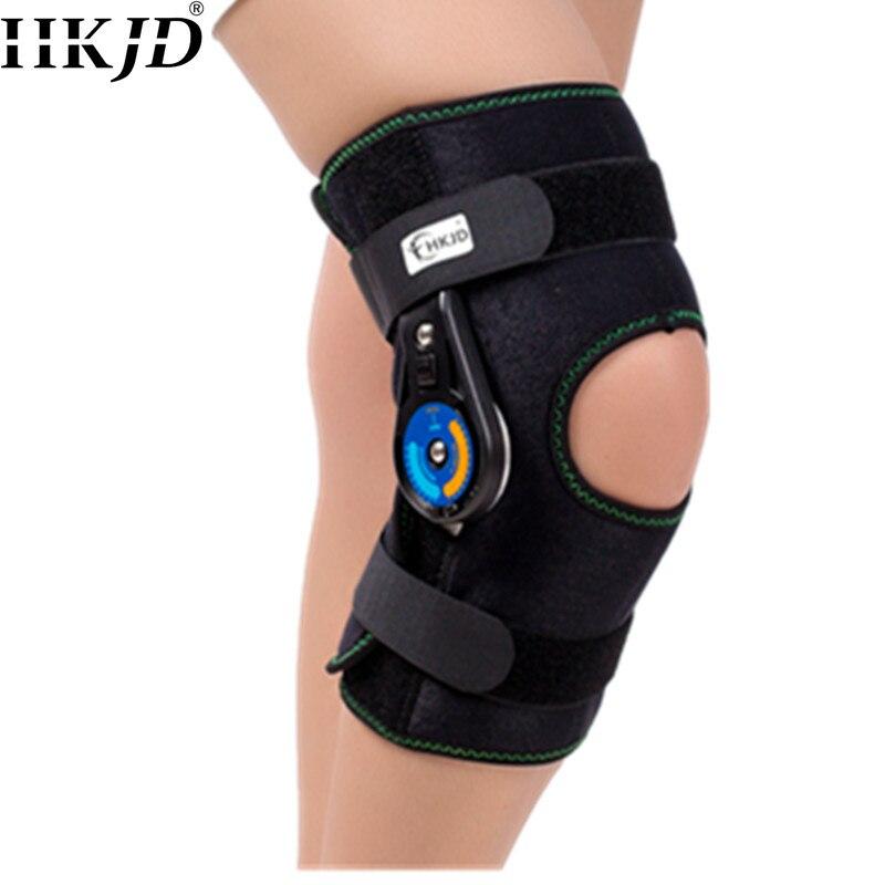 HKJD ROM rótula rodilleras soporte almohadilla Orthosis cinturón con bisagras ajustable rodilla corta articulación estabilidad lateral alivio del dolor