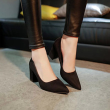 Shoes Women High Heels Shoes 7.5 cm Block Heel sexy pointed toed woman pumps working OL shoes zapatos mujer EUR 34 -39