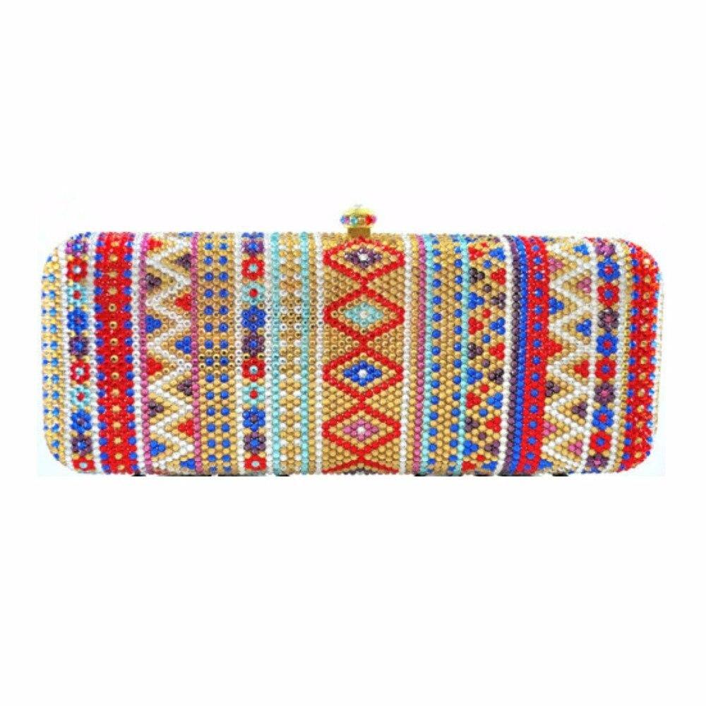 ФОТО 7765F Totem pattern Crystal Bridal Night Metal Evening purse clutch bag box case handbag