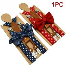1 pcs Polka Dot Bow Tie Suspenders for Men Women 4 Clip Leather Adult Bowtie Braces Trousers Navy Red