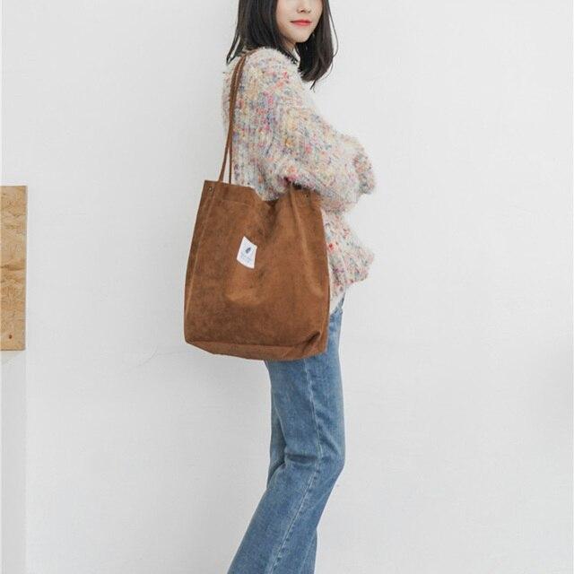 High Capacity Women Corduroy Tote Ladies Casual Shoulder Bag Foldable Reusable Shopping Beach Bag WML99