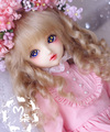 M7-bjd doll wig mohair  cream brown long curly hair 8-9inch 7-8inch 6-7inch 5-6inch 1/3 1/4 1/6 1/8 SD MSD YOSD