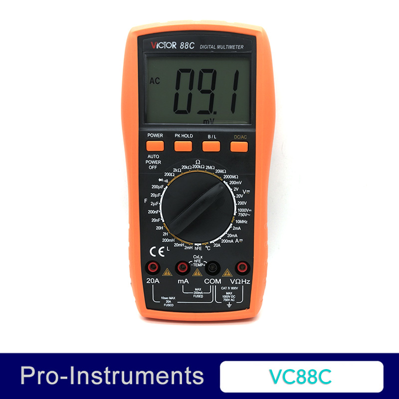 Victor VC88C Professional Manual Range 2000 Counts 20A 1000V Resistance Capacitance Inductance Temperature Digital Multimeter nflc victor digital multimeter 20a 1000v resistance capacitance inductance temp vc9805a