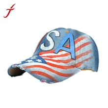 Feitong unisex gorra de béisbol mujeres hombres ee.uu. cartas impreso  rhinestone Denim gorra b3a34a35a47