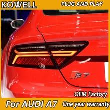 KOWELL 아우디 A7 LED 미등을위한 자동차 스타일링 2011 2012 2013 2014 2015 미등 후방 램프 주차 브레이크 신호등 켜기