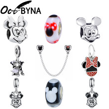Octbyna Cartoon Anime Mickey Minnie DIY Charm beads Fits Original Pandora Bracelet&Necklace Trinket For Women&Child Gifts Making(China)