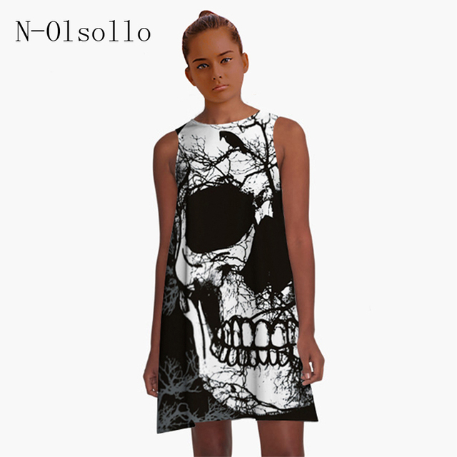 Polyester/Spandex Black Dress 3D Skull Printed 2017 Summer Women Dress Party Vintage Knitted Dress Loose O-neck Casual Dress
