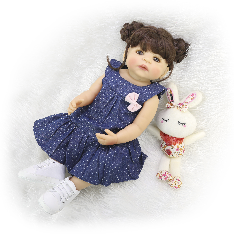 Oyuncaklar ve Hobi Ürünleri'ten Bebekler'de Yeni 55cm tüm silikon vücut Reborn kız gerçekçi bebek bebek DIY saç yenidoğan prenses yürümeye başlayan çocuk oyuncak Bonecas su geçirmez doğum günü hediyesi'da  Grup 3