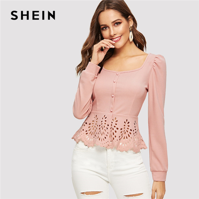 SHEIN Pink Button up Hollow out Square Collar Peplum Hem Puff Sleeve Blouse Women Tops and Blouses Spring Elegant Slim Fit Top