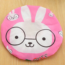 1PC Bathroom Accessories Waterproof Shower Hat Elastic Band Hat Bath Hat Cute Cartoon Rabbit Elepant Lion Duck Panda Shower Hats