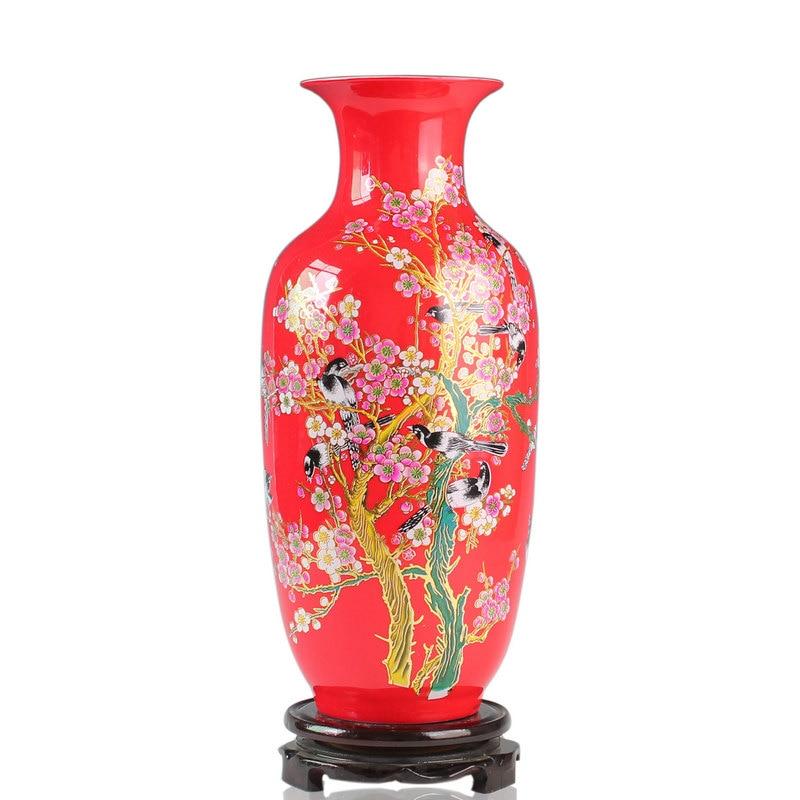 Jingdezhen ceramics/China red vase/red porcelain/magpie annunciation/ceramic handicraft decoration/special offers