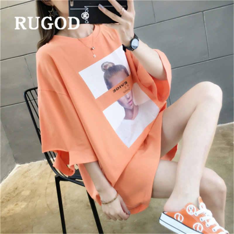 RUGOD 2019 ฤดูร้อน TShirt พิมพ์หลวมเสื้อผู้หญิง O คอลำลองเกาหลีรุ่น Hole magliette Donna