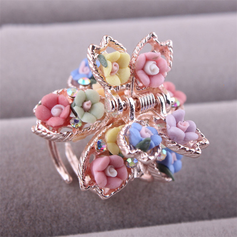 Ceramics Flower Small Hair Claw Clip Hairpin Accessories for Women Girls Lady Hairpins Crab Barrettes Hair Clips   Headwear