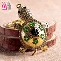 Charm Trinket Gold-plated Rhinestone Tortoise Keychains Metal Car Keyring 2016 Fashion Animal Turtle Women Handbag Key Holder