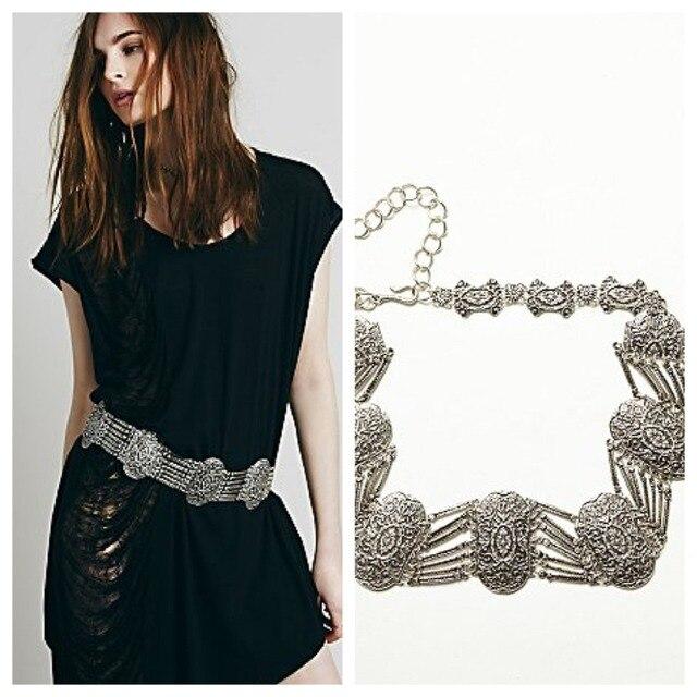 Women Bling Silver Hip Waist Belly Dance Layered Chain Belt Turkish Ethnic Boho Wide Waist Circle Flower Waistband Body Jewelry
