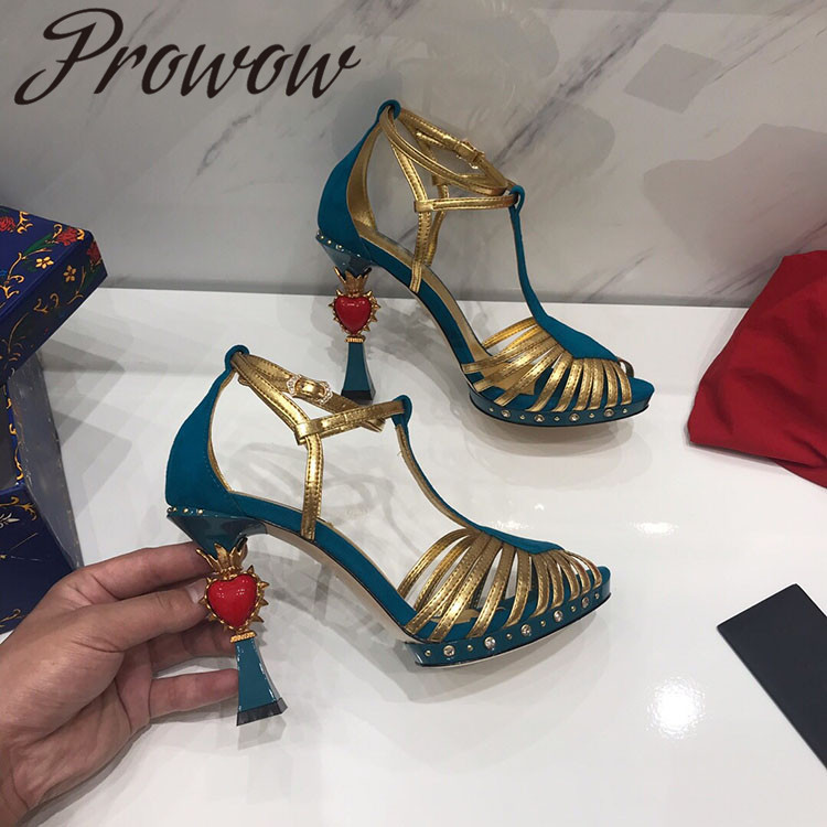 Prowow HIigh Quality Genuine Sexy Metal Studded Summer Sandals Heart Shaped HIgh Heel Sandals Shoes Women Branded Sandals фото