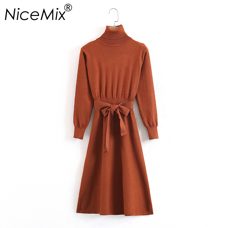 NiceMix 2018 Winter Turtleneck Sweater Dress Women Slim Waist Bandage Dress Elegant Long Elastic Knitted Dresses Femme Vestidos women turtleneck front pocket sweater dress