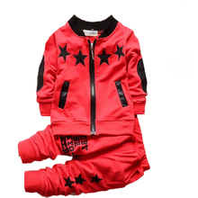 New summer baby boy children star letter pattern zipper coat+pant sport tracksuit outdoor clothing casual cotton sets free ship