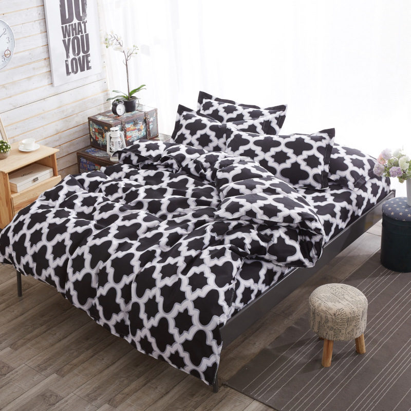 Comfortable Floral Stripes Bedding Set High Quality 1 Bedding Quilt Cover +2 Pillowcases Soft Fashionable Bedding Sets