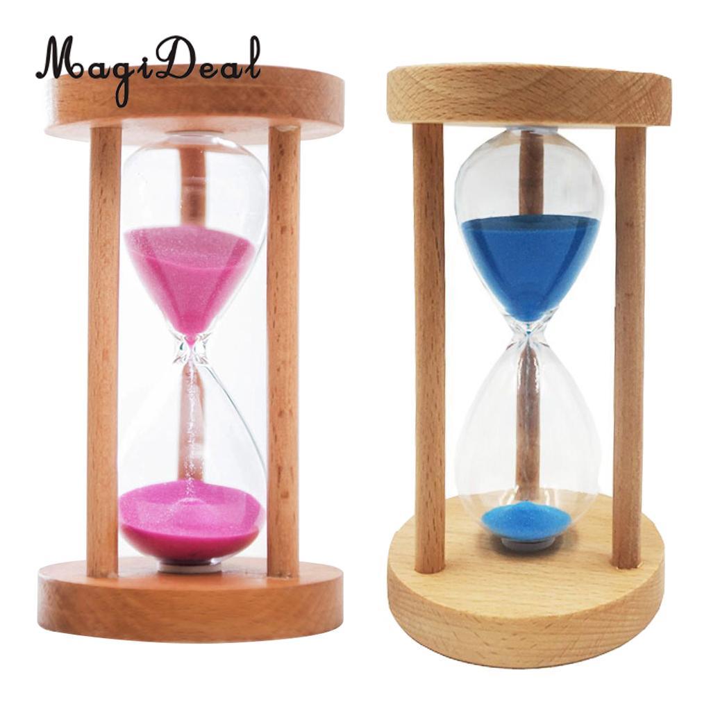 10/15/30 Min Wooden Framed Sand Glass Clock Hourglass Sandglass Timer Art  Craft Home Office Decor Kids