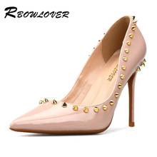 RBOWLOVER 2018 Women Pumps Patent Leather Gold Rivets High Heels Pumps  Rubber Sole Point Toe Sexy Party Shoes Women ad55a8f8386b